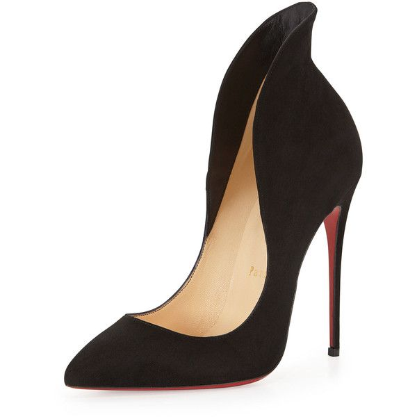 Christian Louboutin Mea Culpa Flared Suede Red Sole Pump found on Polyvore featuring polyvore, fashion, shoes, pumps, heels, sapatos, high heels, black, suede pointed toe pumps and christian louboutin pumps