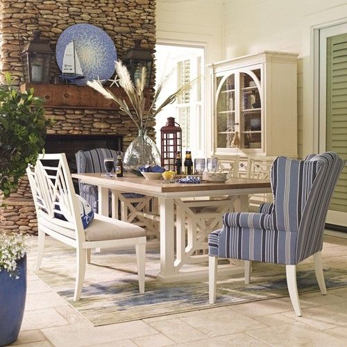 HGTV Home Furniture Collection Waters Edge Trestle Dining Table And Wing Chair Set