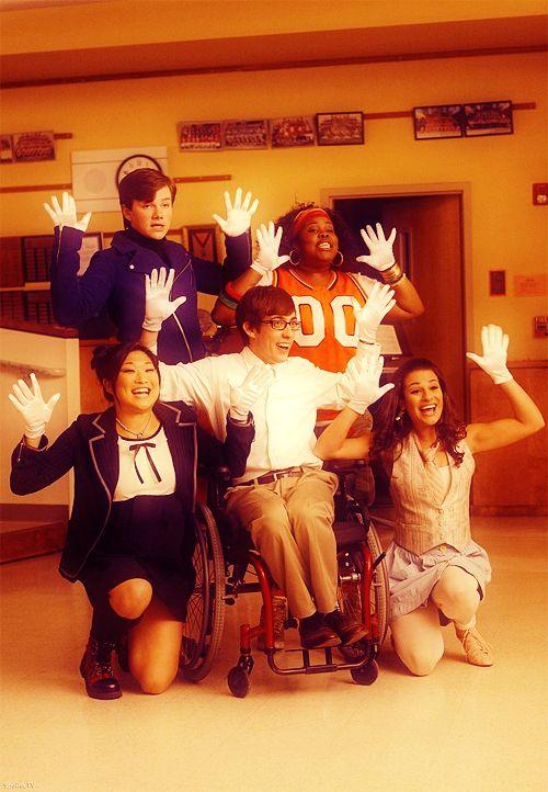 The Original 5. Jenna Ushkowitz, Chris Colfer, Amber Riley, Kevin McHale & Lea Michele.
