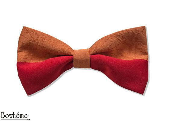 Pre Tied Bow tieHALF AND HALF.Grooms gift. by Bowheme on Etsy, $15.00