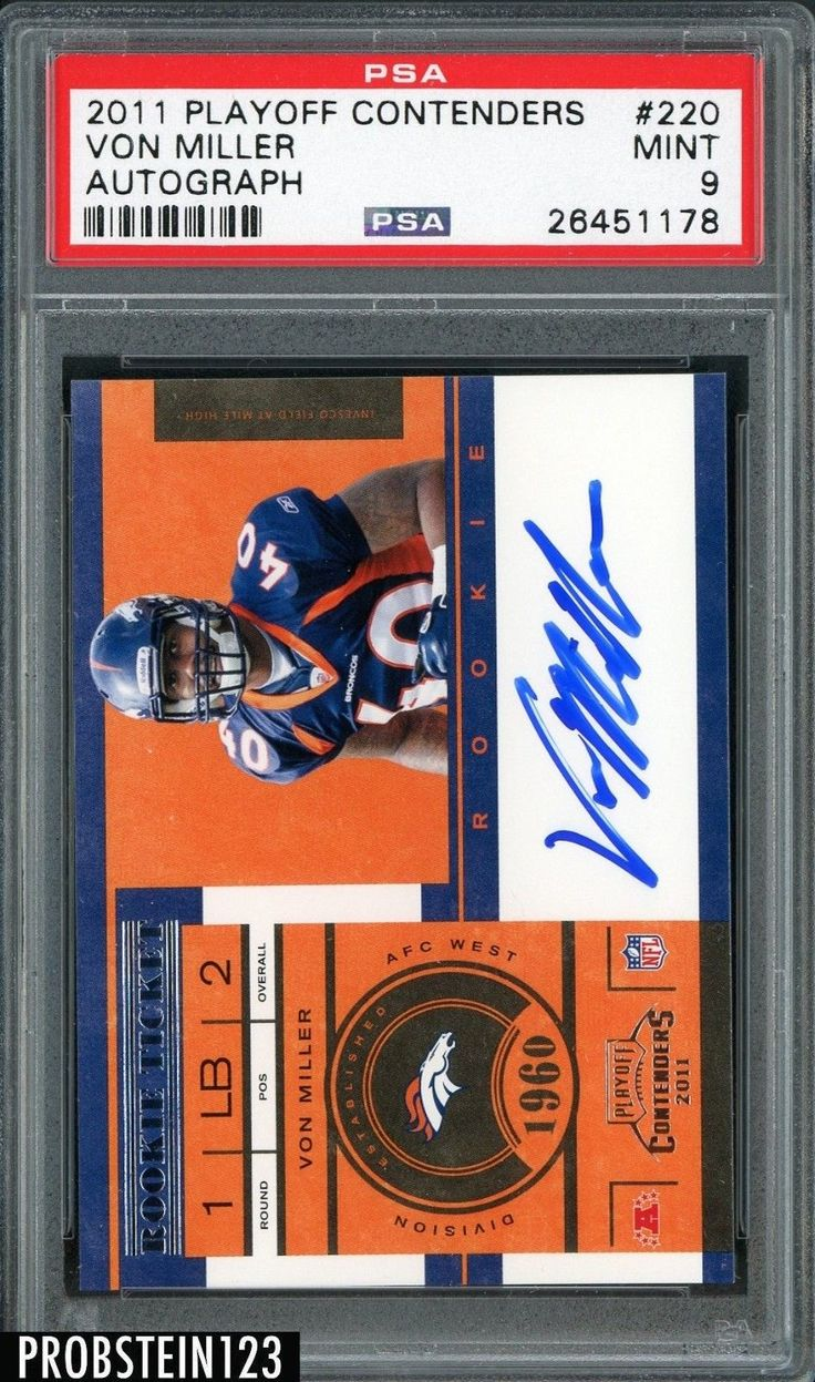 #SportsMemorbilia 2011 Contenders Rookie Ticket #220 Von Miller Broncos RC Rookie AUTO PSA 9 MINT #Collectibles