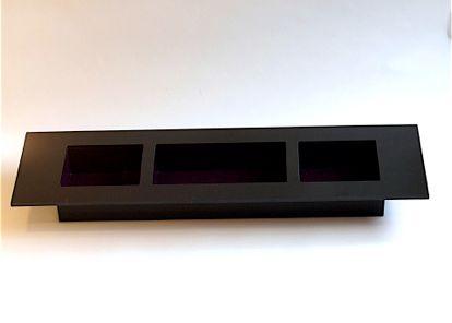 deco noir candle holder black plexiglass frame w purple plexiglass center frames