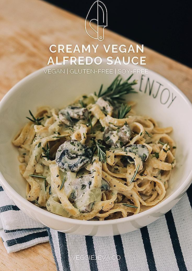 Creamy Vegan Alfredo Sauce In 2020 Vegan Alfredo Sauce Vegan Alfredo Sweet Potato Pasta Sauce
