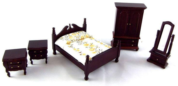 """1:24 Scale - Wooden - Drawers & doors open - 5 piece set - Bed width 68mm - length 83mm = 2.11/16"""" x 3.1/4"""". Recommended age range 14 Years. Detailed scale model for adult collectors. Product Type Bedroom Set. 