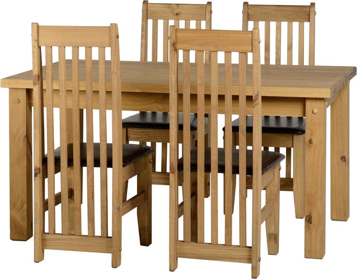 """sales@spt-furniture.com  Tortilla 4'9"""" Dining Set Distressed Waxed Pine/Expresso Brown PU Assembled Sizes(MM) 1450 x 910 x 775 425 x 500 x 1070  Extra Information TABLE: TOP THICKNESS 45MM LEG THICKNESS 85MM HEIGHT OF FRAME H635 CHAIR: SEAT PAD SIZE W425 D445 SEAT PAD HEIGHT H455 BACKREST HEIGHT H615"""