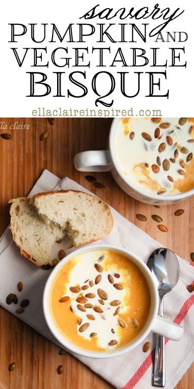 Savory Roasted Pumpkin and Vegetable Bisque~ A yearly Fall tradition