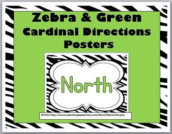 Zebra + Green Cardinal Directions Posters