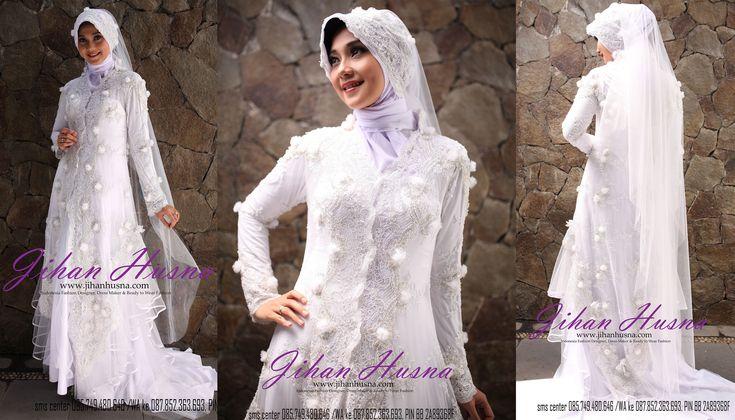 Wedding Dress Muslimah Kebaya Modern Tile Putih http://jihanhusna.com