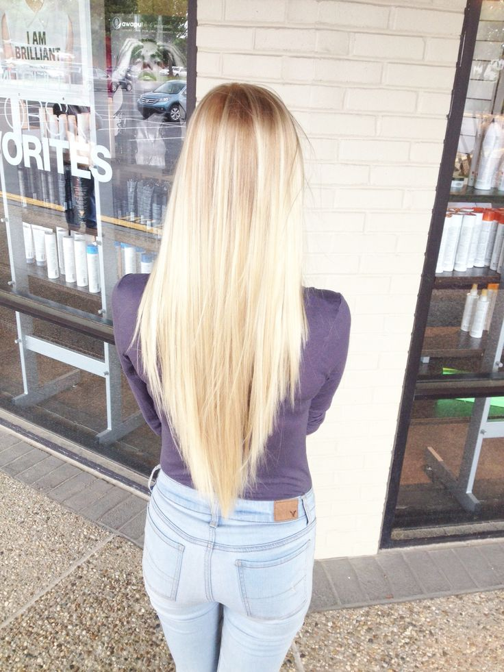 Long layered V-Cut. Reverse layers, Platinum Blonde. ~Janie Donnelly