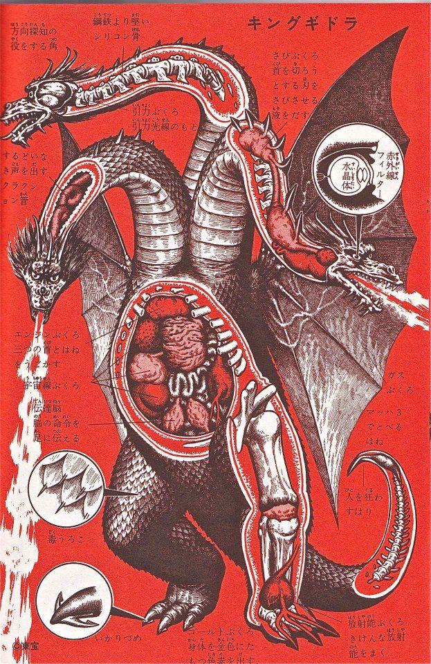 Monster Anatomy Studies: What's inside King Ghidorah?