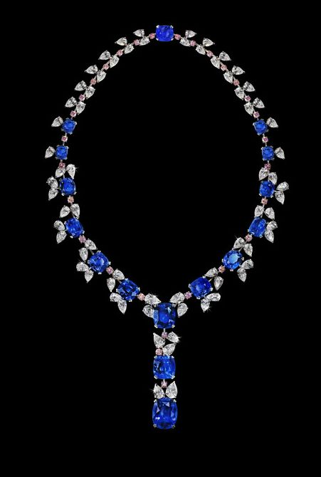 David Morris alta joyería collar de diamantes de zafiro azul rosado de lujo del diamante ceylon ovaladas pera redonda