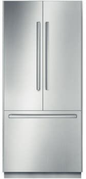 Bosch B36BT830NS 36 Inch Fully-Integrated French Door Refrigerator with 19.5 cu. ft Capacity, Adjustable Glass Shelves, Gallon Door Bins, Dual Evaporators, Optiflex Hinge, 2 Humidity Controlled Drawers, Deli Drawer, Sabbath Mode, ENERGY STAR and Ice Maker: Stainless Steel