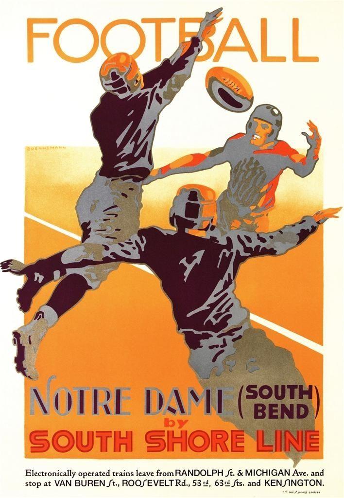 Football Notre Dame by South Shore Line - DaVinci Emporium