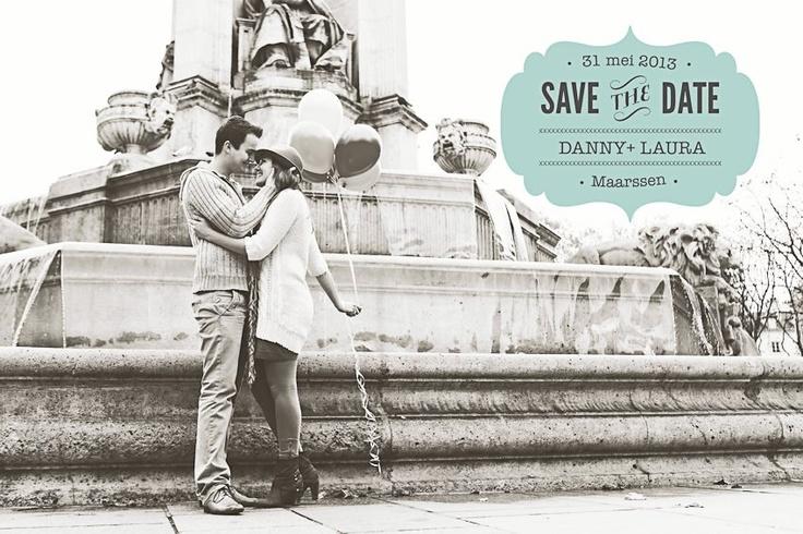 Wil je ook zo'n vintage save the date kaart? Ga met ons mee naar Parijs op Valentijnsdag! En met een simpele aanpassing wordt het een trouwkaart.