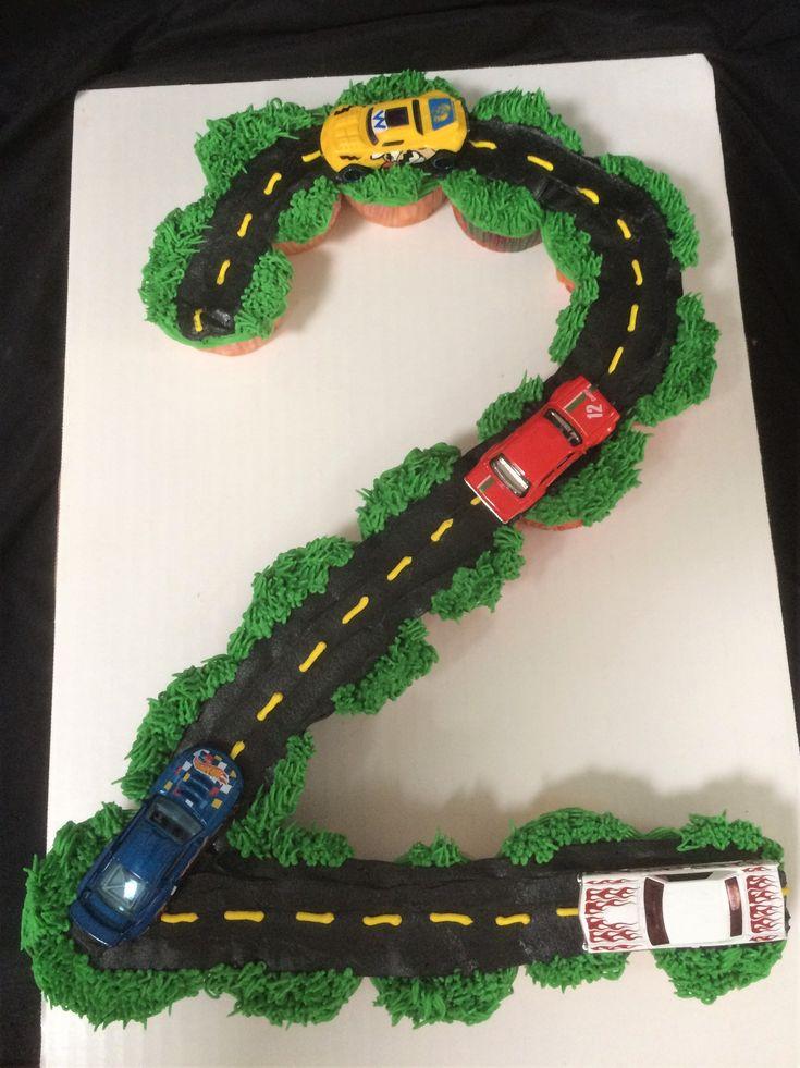 Toddler boy birthday, 2 year old birthday cupcakes, race car cupcakes