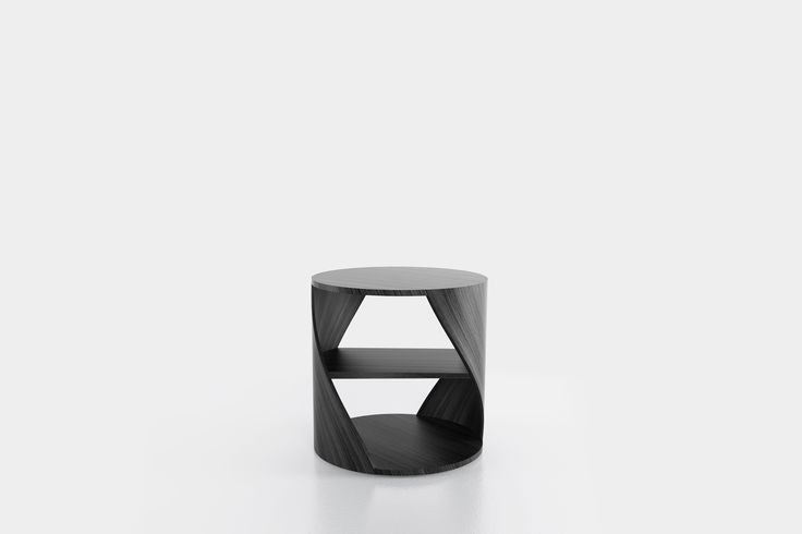 Cylindrical side table with a middle shelf, from the collection MYDNA designed by Joel Escalona. Made of wood and heavy-duty fibers. Finished in natural wood or semi-gloss lacquer. MYDNA Table Black Wood #Table #Sidetable #furniture #design #nono #coolinteriors