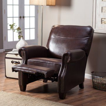 Barcalounger Ridley II Leather Recliner - Saddle - Leather Recliners at Hayneedle