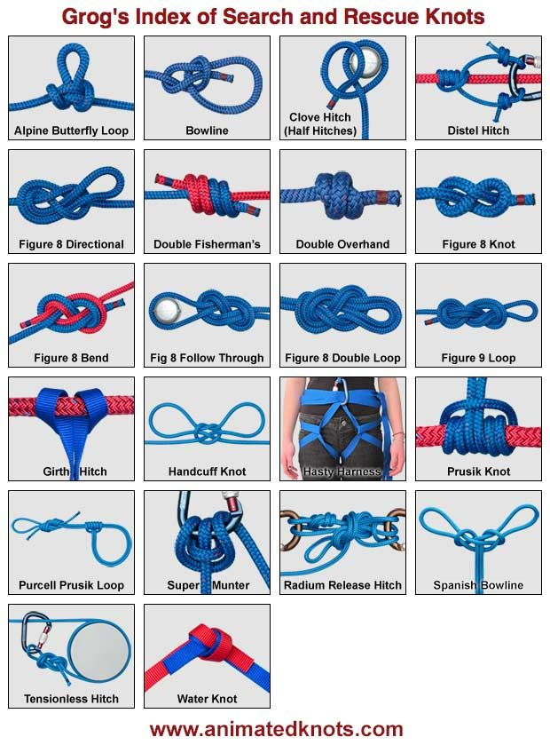 Knots. Know your knots, it might save your life unless you live a boring lifestyle which you shouldn't do! Because that's boring.