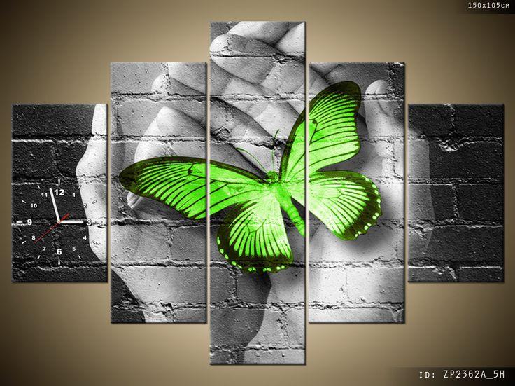 Obraz Zielony motyl w dłoniach - fotozegar