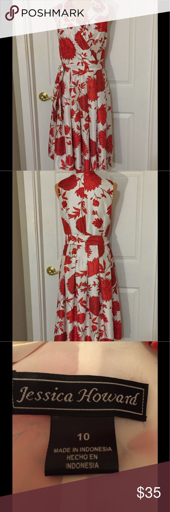 Jessica Howard A-Line Dress Jessica Howard A-Line Dress with beautiful coral floral design. Goes perfectly with coral Calvin Klein shoes I have listed!  Excellent used condition. Jessica Howard Dresses
