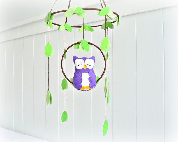 Owl mobile  woodland  Nursery baby mobile  Felt by LullabyMobiles