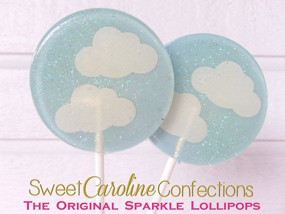 Baby douche lollies, Baby Shower Favors, wolken, lichte blauwe lollies, Candy lollies, Cloud Candy, Party gunsten-Set van zes