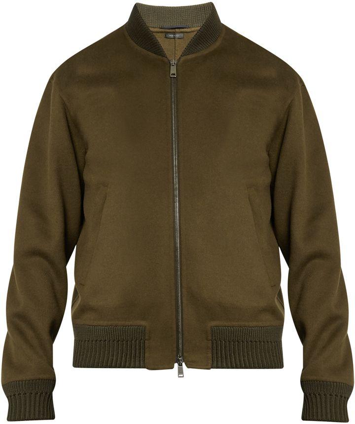 JIL SANDER Wool and cashmere-blend bomber jacket