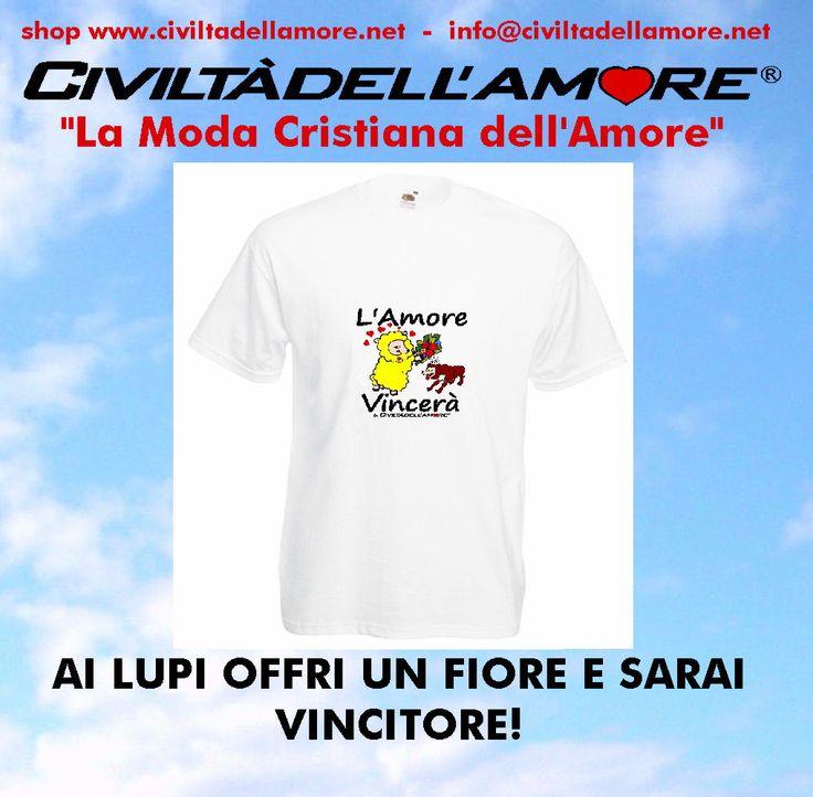 Il tempo dei lupi sta per finire e arriverà il tempo della Civiltà dell'Amore! Dillo anche tu con la maglietta: L'Amore Vincerà.  Per questo modello segui la guida all'acquisto: http://www.civiltadellamore.net/guida-allacquisto/
