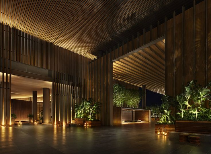 The interior of the hotel infuses traditional Asian design with futuristic architecture. Most of the trees and plants are sourced from Hainan Island, making the landscape ecologically sustainable.
