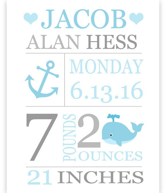 Custom Birth Stats Print, Baby Name Art, Personalized Baby Gift, Birth Announcement, Baptism Gift, Nautical Birth Stat Print, Boy Wall Art by SweetPeaNurseryArt on Etsy