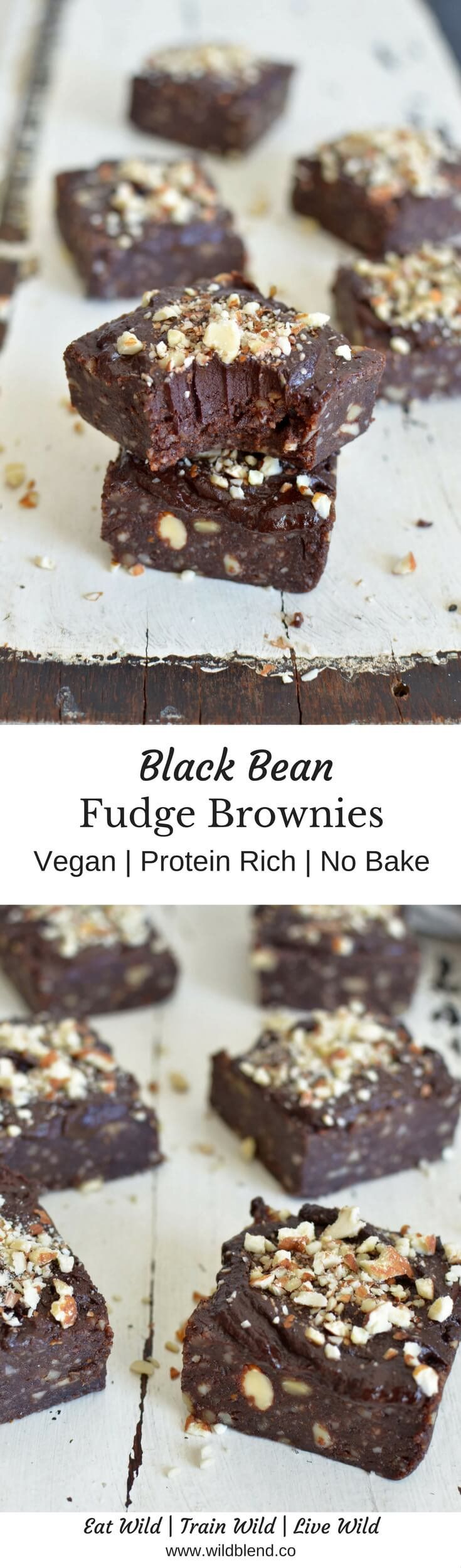 These black bean brownies are everything you want from a brownie - moist, fudge-y, and loaded with protein while still keeping it vegan, gluten free and healthy! Get the recipe here: http://www.wildblend.co/single-post/2017/04/06/Black-Bean-Fudge-Brownies