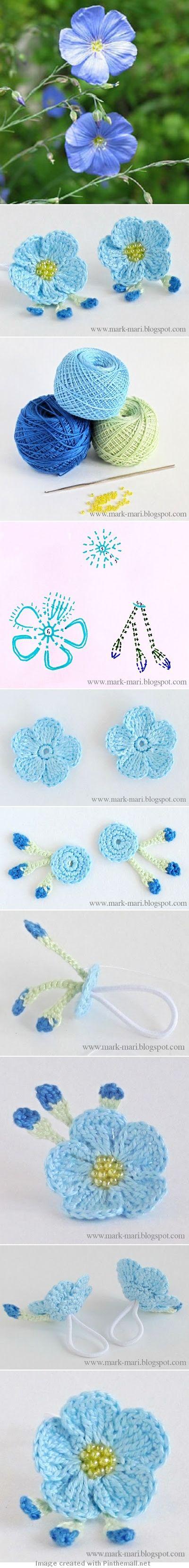 Crochet Flower - Chart ❥ 4U // http://www.pinterest.com/hilariafina/