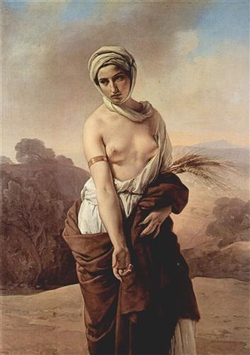 """""""Ruth"""", Francesco Hayez, 1835; olio su tela, 139x101 cm; realizzato su ordinazione del bolognese Severino Bonora ed esposto all'Accademia nel 1853, il dipinto è ora conservato presso le Collezioni comunali di Bologna."""