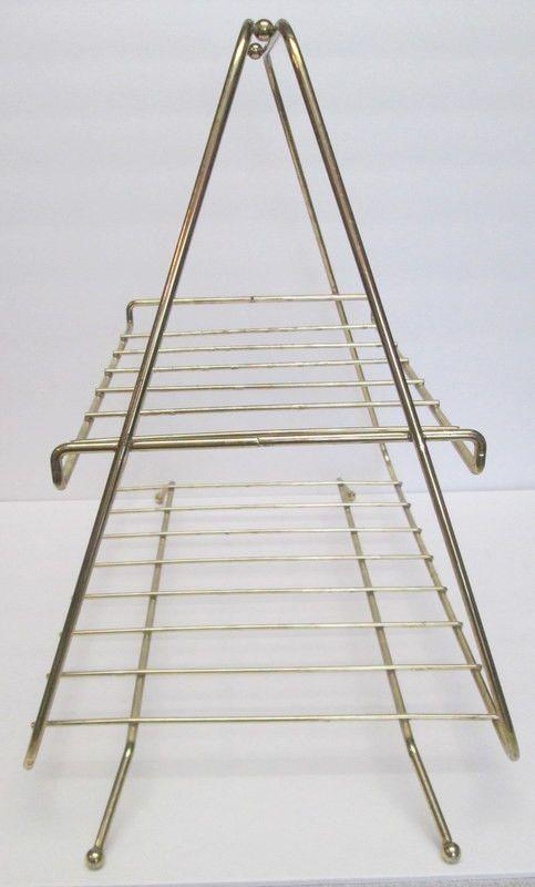 Vintage 1960s Metal Wire Magazine Rack Retro Triangle