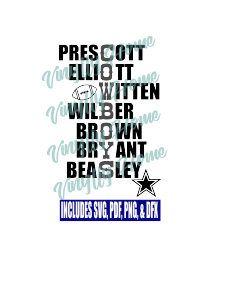 Dallas Cowboys SVG; Prescott, Elliott, Witten, Wilber, Brown, Bryant, Beasley; Dallas Cowboys Players; Dallas Cowboys Roster by
