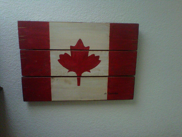 Reclaimed Wood Flag, Canadian Maple Leaf, Wooden Wall Hanging, Handmade Canada Flag red and white, Oh Canada. $85.00, via Etsy. I can't spend $85 on this, but I could find a stencil and make on above the bed. The walls are wood anyways. Would make a very cute headboard!