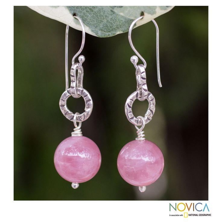 Rose quartz dangle earrings, 'Thai Rose'