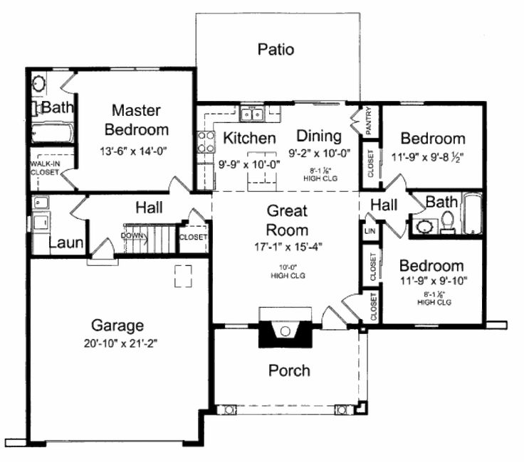 Cottage Style House Plan - 3 Beds 2 Baths 1285 Sq/Ft Plan #46-416 Floor Plan - Main Floor Plan - Houseplans.com