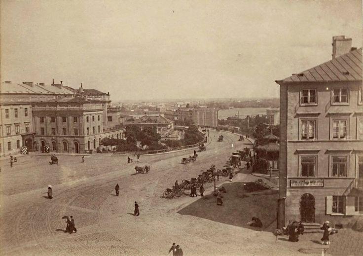 Zamek Królewski i widok na Wisłę. Dziś znajduje się tam część Trasy W-Z. Rok 1870