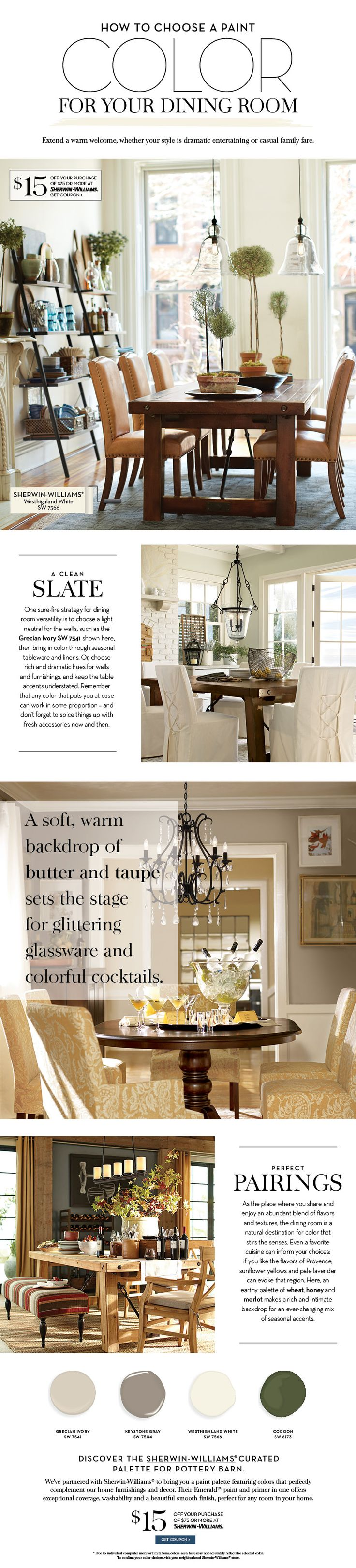 Pottery barn dining room white - How To Choose A Paint Color For Your Dining Room