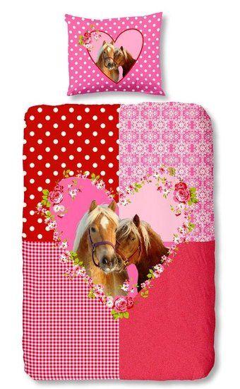 Als je gek bent van paarden dan moet je dit dekbedovertrek hebben. In roze en rood, met paarden erop.
