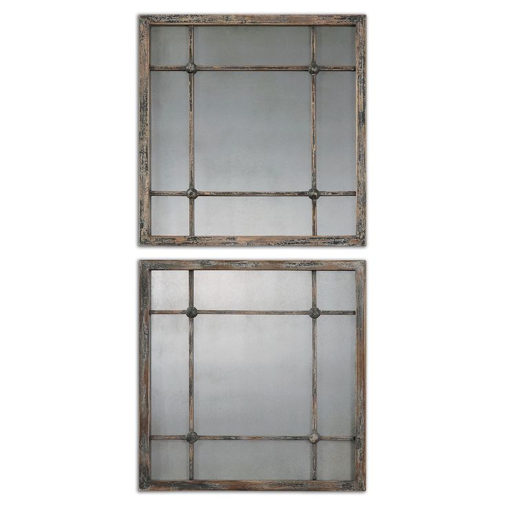 A gorgeous, heavily distressed slate blue frame with aged ivory accents and antiqued mirrors, makes these mirrors an ideal accent for most decor styles. A durable fir wood design completes the styling of these stunning accent mirrors.