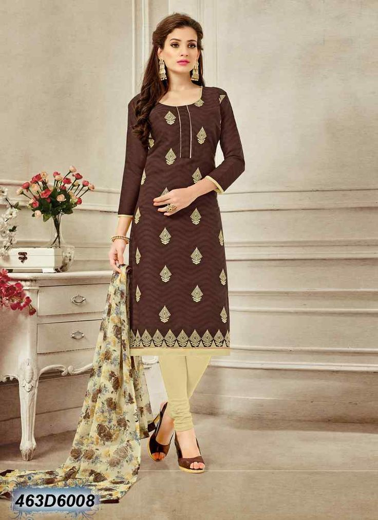 Ethnic Brown Coloured Brasso Cotton Salwar Suit