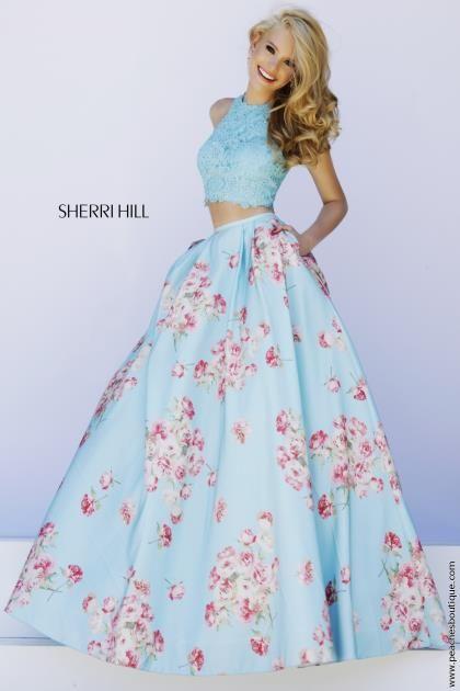 Print Skirt A Line Sherri Hill Gown 32216