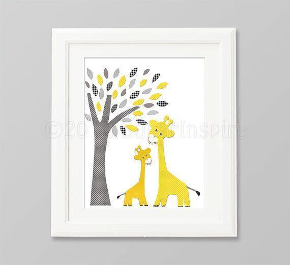 Yellow and grey giraffe nursery  Art Print 8x10 by SugarInspire
