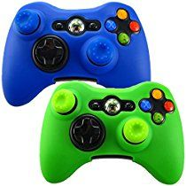 Pandaren Soft Silicone Skin for Xbox 360 Controller Set(Skin X 2 + Thumb Grip X 4) (Blue, Green)
