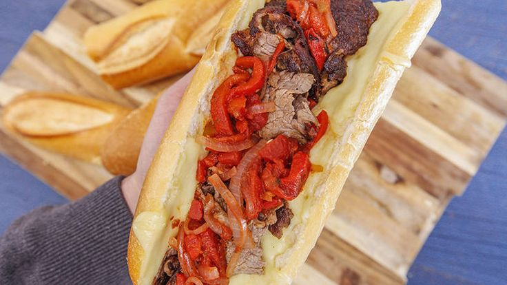 It's a cheese-steak-pizzaoli - sub out rolls or omit