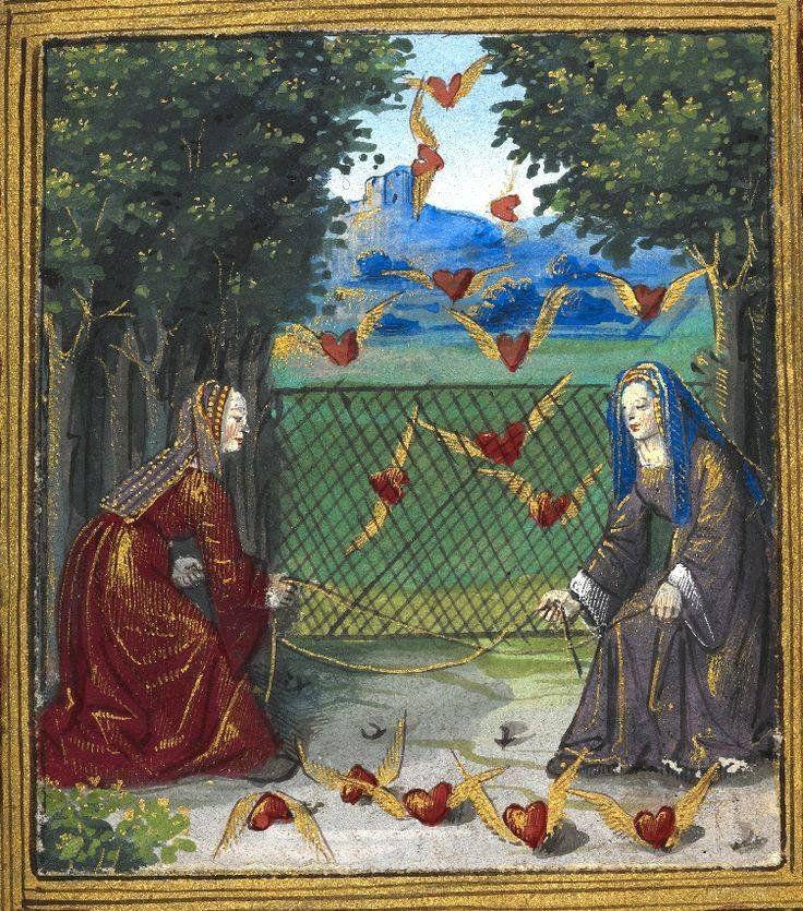 Women catching flying hearts from a French manuscript, 'Petit Livre d'Amour', ('Emblesmes et Devises d'Amour') 1500
