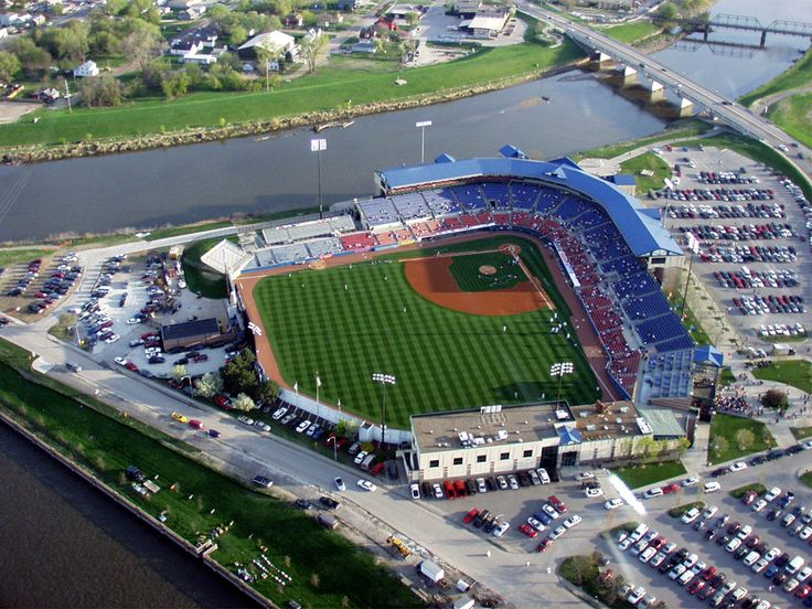 Principal Park, formerly Sec Taylor Stadium, on the fork of the Des Moines and Raccoon River, Des Moines, IA