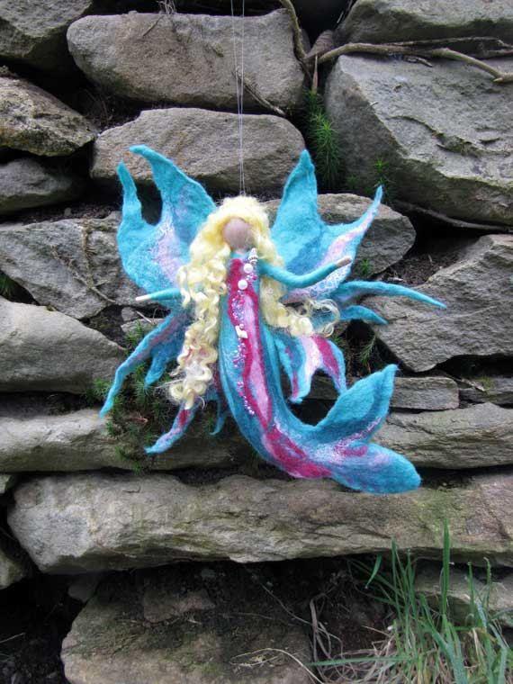 AQUIMA mermaid Waldorf doll Wool fairy ooak by LivelySheep on Etsy, €19.00
